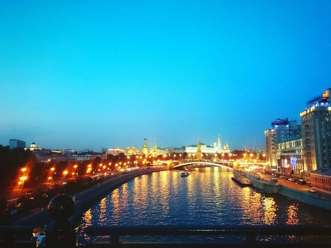 Moscow Kremlin City Lights Cityscapes Crepuscular Light Twilight Lights CityOfLights  Russia Moscowriver Night Lights Nightview Aftersunset River View Bridge Bridge View Urban Evening Sky Evening The Great Outdoors - 2016 EyeEm Awards The Great Outdoors With Adobe Original Experiences 43 Golden Moments