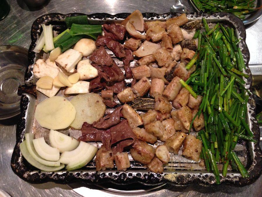Korean Food Gopchang Intestines Beef Intestines Grilling Vegetables