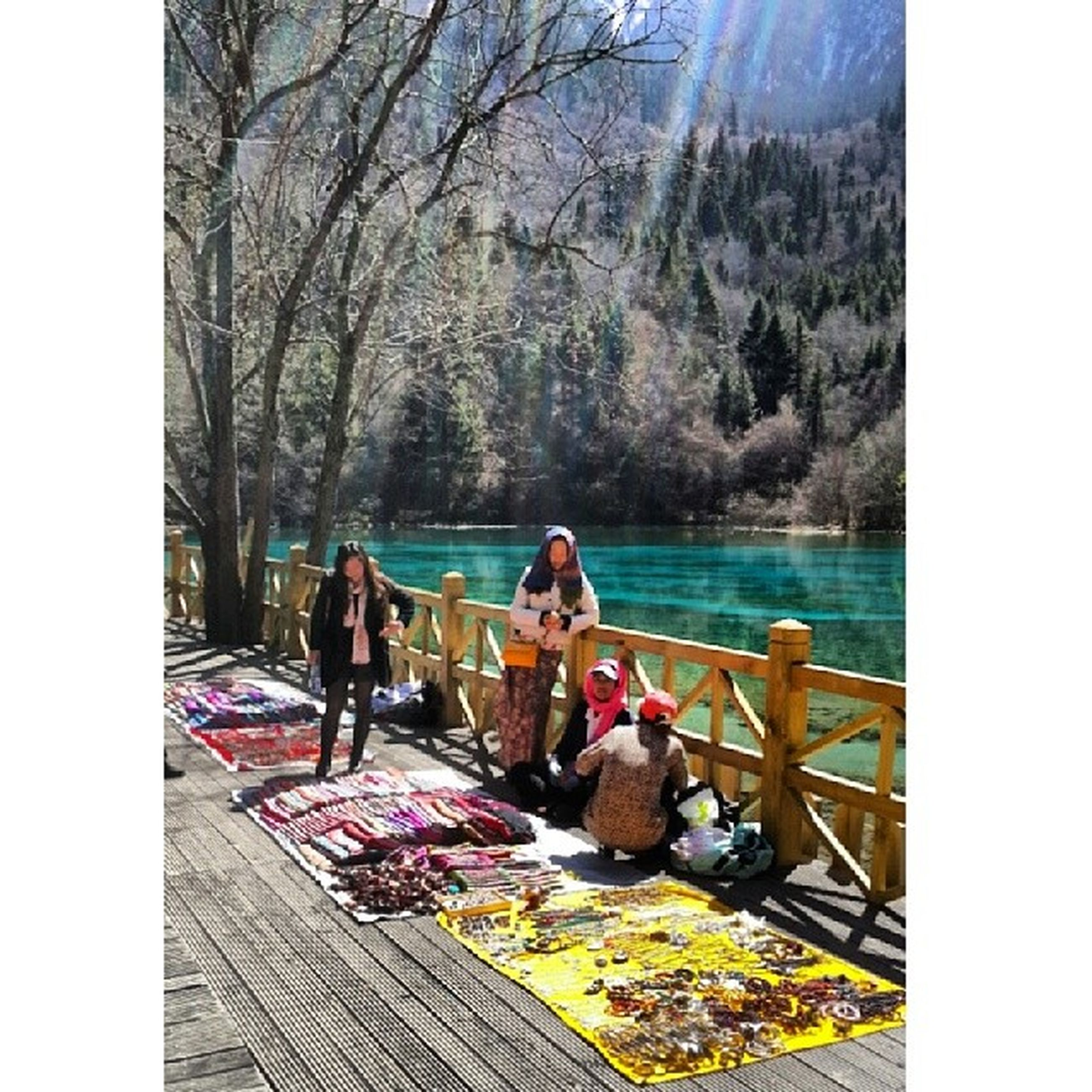 transfer print, water, lifestyles, leisure activity, tree, auto post production filter, men, person, sitting, large group of people, togetherness, vacations, relaxation, nature, lake, day, river, medium group of people, tourism