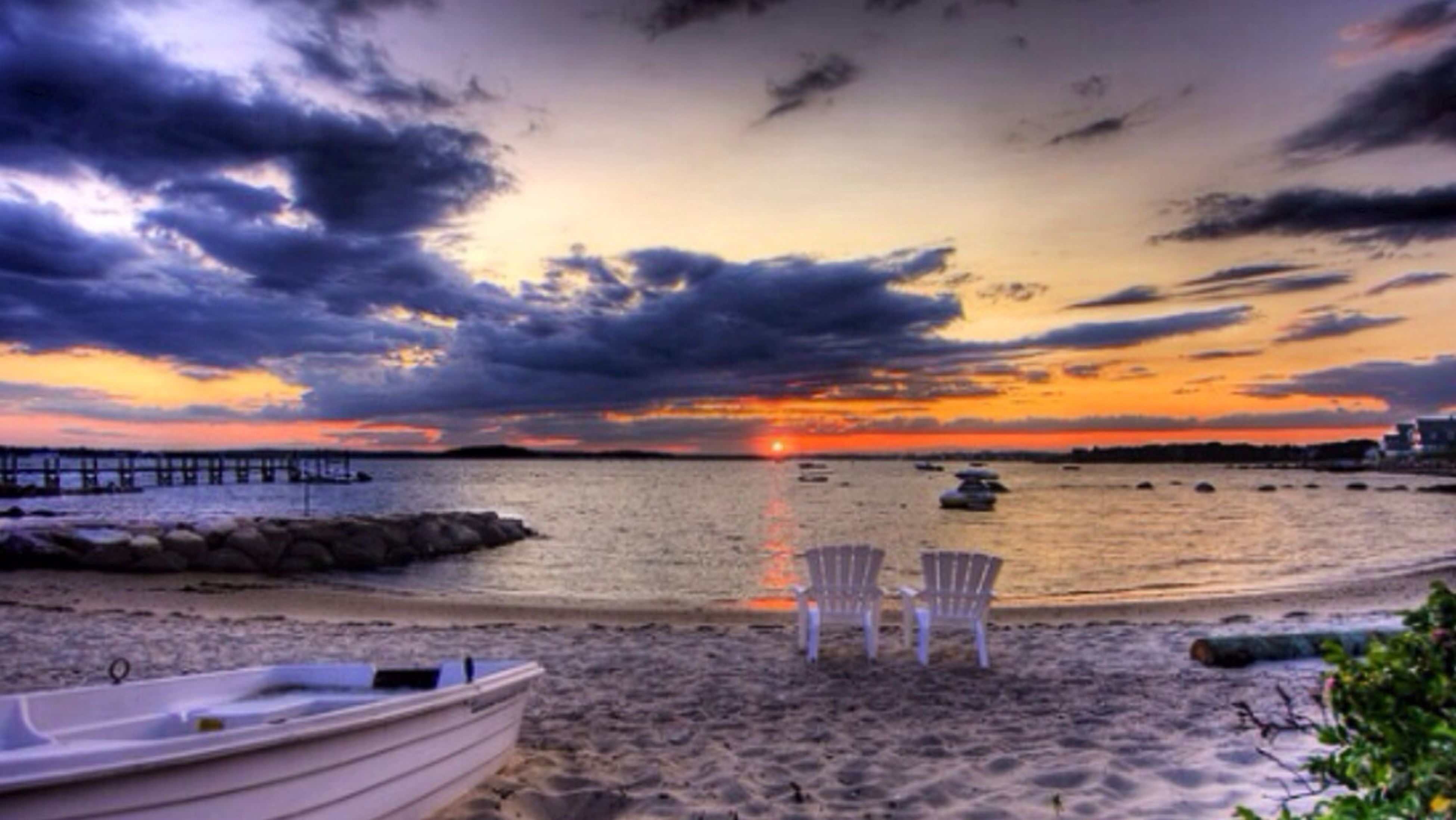 beach, sea, water, sky, sunset, shore, cloud - sky, tranquil scene, scenics, horizon over water, tranquility, beauty in nature, sand, nature, cloudy, idyllic, boat, nautical vessel, moored, cloud