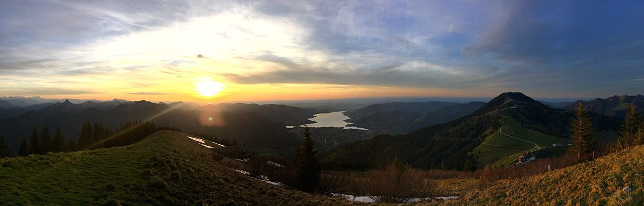 Alps Alpen Mountain Tranquil Scene Beauty In Nature Sunset Tegernsee Mountain Range Nature Miesbach Bayern Bavaria Hiking
