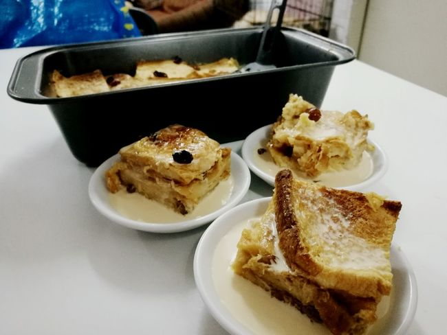 bread pudding. Sweet Food Food And Drink Dessert Plate Horizontal Food No People Homemade Freshness Indoors  Close-up Day Breakfast Eating Foodporn Food And Drink Malaysian Food Malaysia Truly Asia Foodiegram Ready-to-eat Serving Size Fooded Moment Table Foodies Refreshment