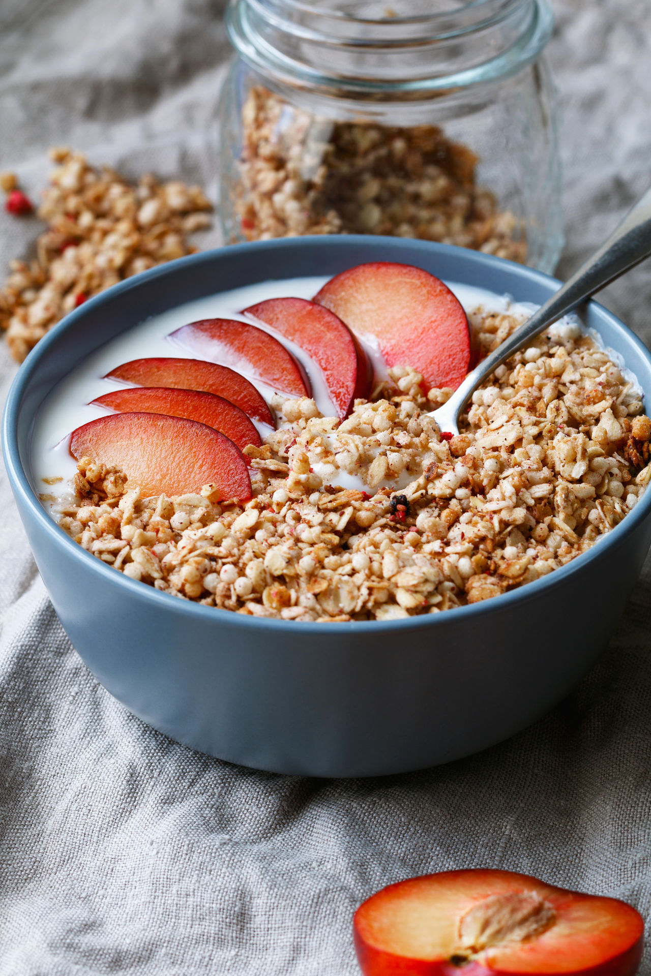 Bowl Breakfast Breakfast Cereal Fruit Granola Healthy Eating Morning Plum