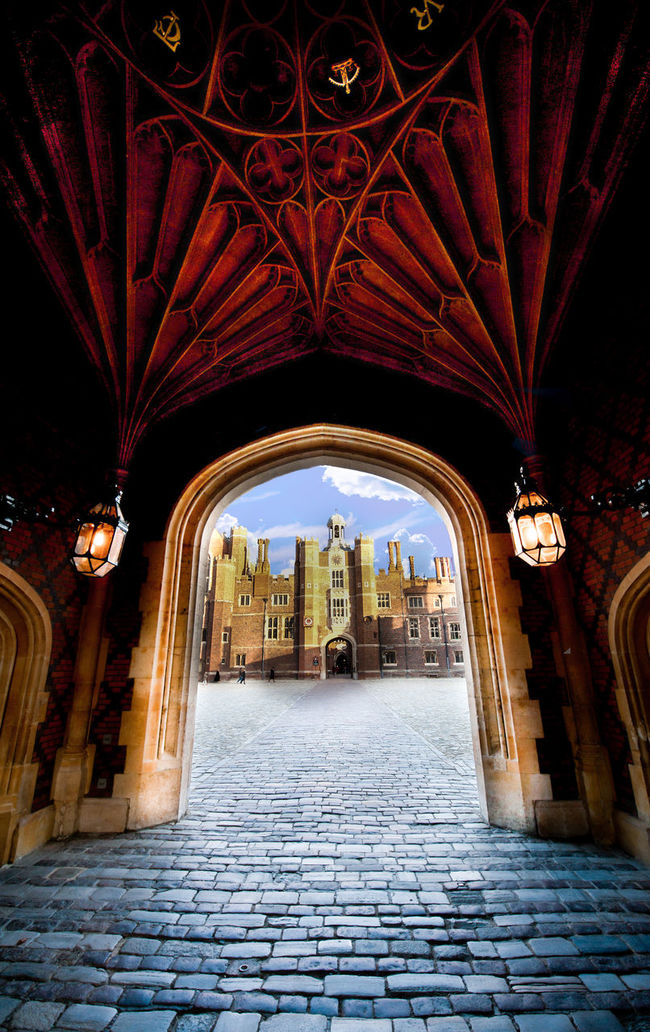 16th Century Arch Architecture Archway Blue And Red Cobblestone England Filter Gate Gatehouse Gothic History Lantern Lanterns No People Palace Passage Tourism Travel Travel Destinations Traveling Tudor Filters