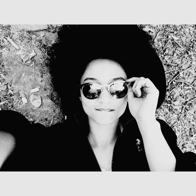 Blackandwhite Black And White Me Metissage Mixed Girl Afrohair Sun Glasses Relaxing Enjoying The Sun That's Me Hello World