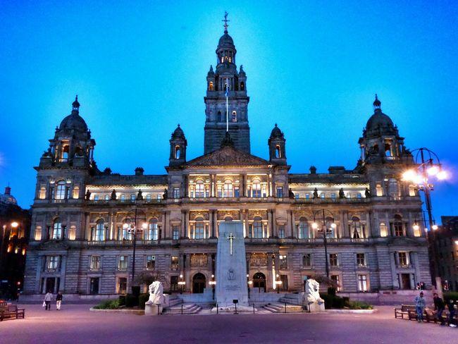 GLASGOW CITY Glasgow By Night Glasgow  George Square Georgesquare Scotland Scenery Scenic Public Places