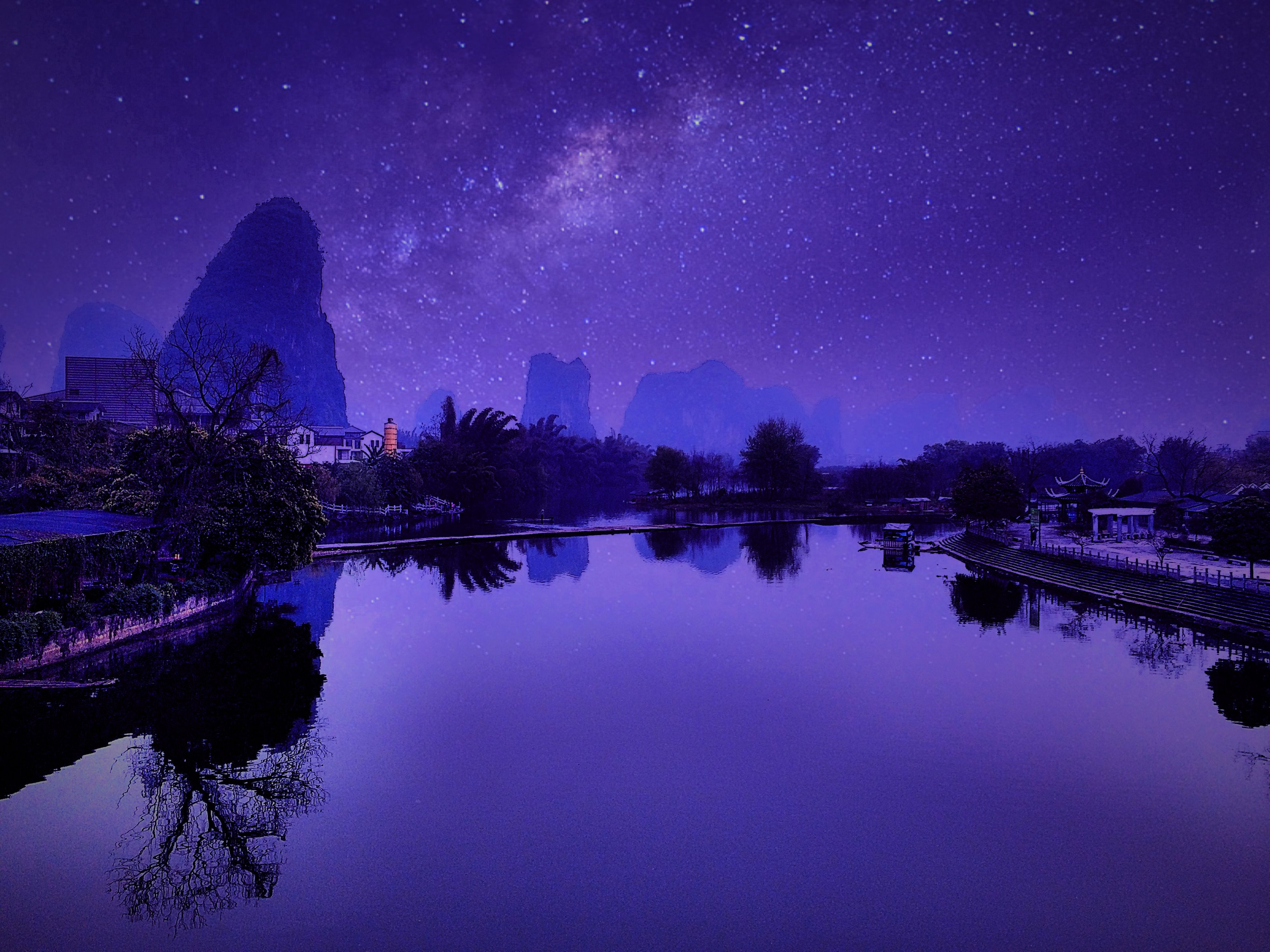 night, illuminated, star - space, star field, sky, astronomy, reflection, scenics, tree, beauty in nature, star, tranquil scene, tranquility, low angle view, nature, galaxy, moon, space, dark, majestic