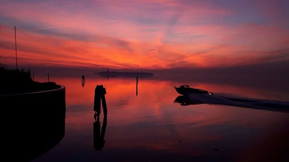 Sunset Reflection Sky Water Nature Outdoors No People Beauty In Nature Tranquility Work Time Life Sea Sea And Sky Illuminated Waterfront Sea View Lifeisbeautiful Italy❤️ Venice City Venicelife Mycity Loveuvenice Towardsmorning Reflection