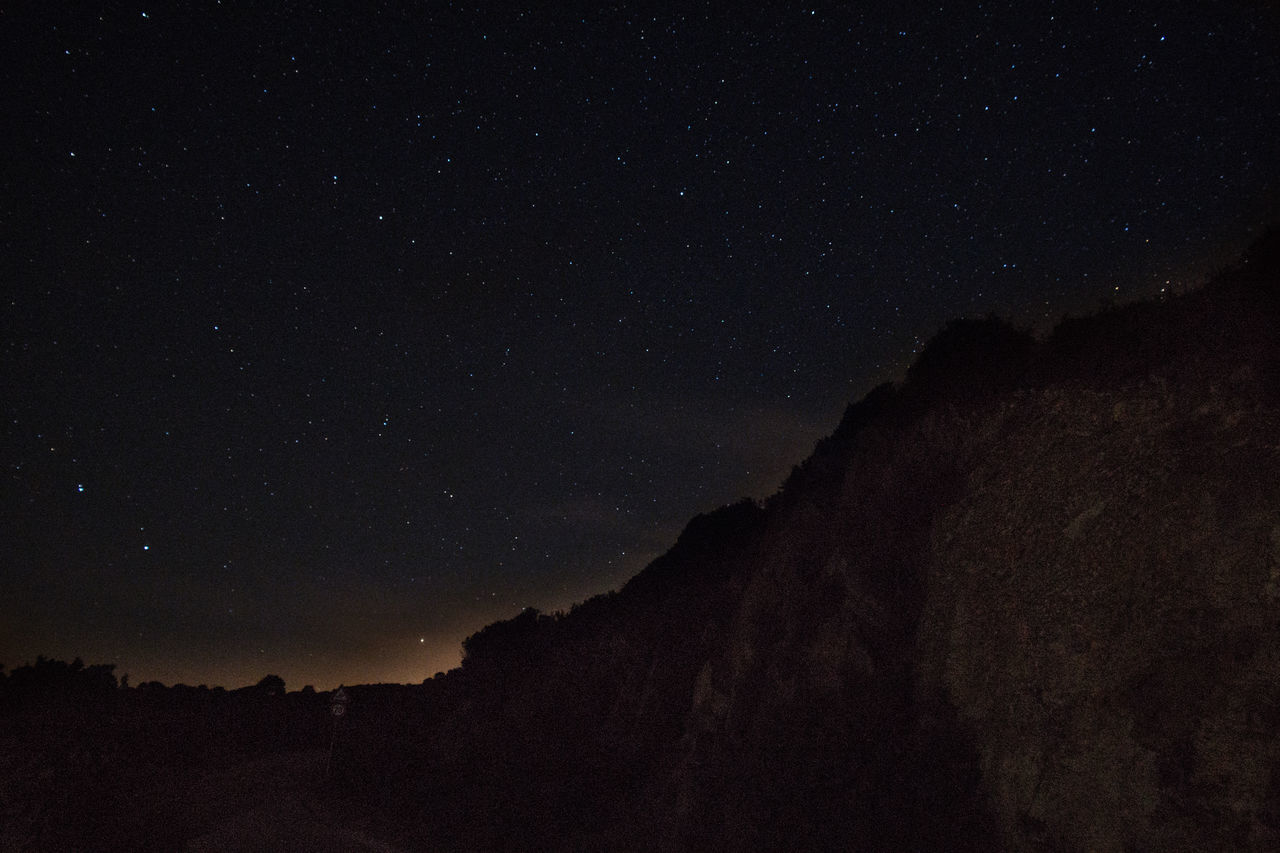 Astronomy Beauty In Nature Cliff Constellation Dark Fresh On Eyeem  Galaxy High Section Low Angle View Majestic Mountain Nature Night No People Outdoors Outline Remote Scenics Silhouette Sky Space Star - Space Star Field Tranquil Scene Tranquility
