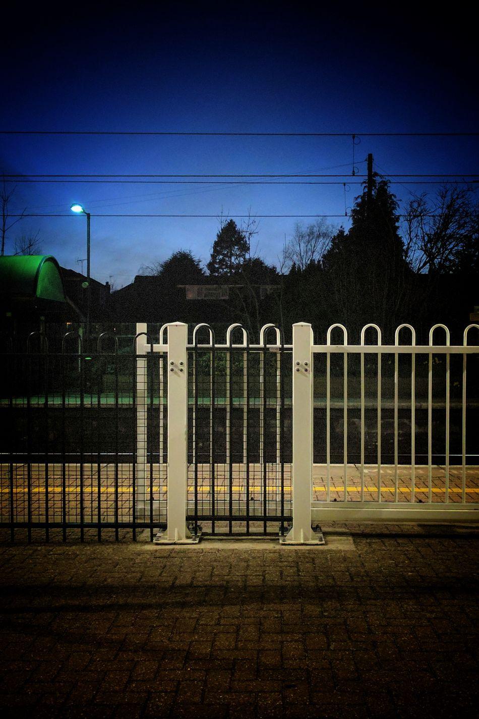 Fence No People Tree Outdoors Sky Night Illuminated White Fence Station Platform Dusk Perfect Sky Railing Station Railway