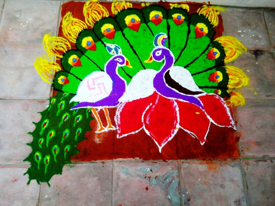 Rangolibyme Rangoli Preparations Colorful Rangoli. MyRangoliArts Peackock Color Portrait Colorful Festive Season Diwalicelebrations Diwalitime