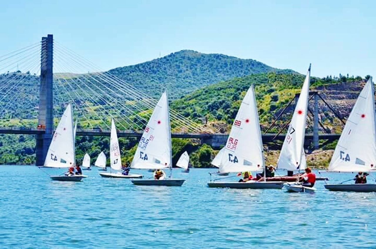 Barrage Bni haroun ,Mila 🌞⛵⛵ Nautical Vessel Sailboat Sailing Fun Sports Race Sea Competition Sport Regatta Water Small Group Of People Yacht Outdoors Teamwork Aquatic Sport Crew People Sports Team Day Yachting Algeria Photography Algérie Beach Photography Beach EyeEm Best Shots