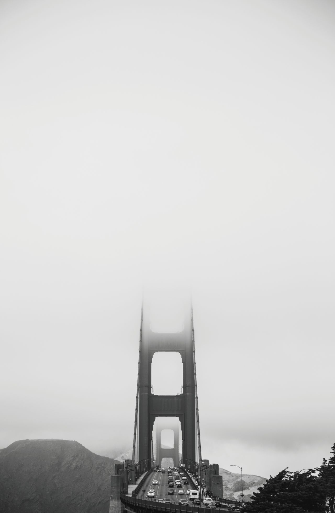 The people go to their respective places. Fog Sky Travel Destinations Architecture Outdoors Day Traveling Home For The Holidays Showcase: December Traveling Highway Road City Traffic Suspension Bridge California San Francisco Betterlandscapes