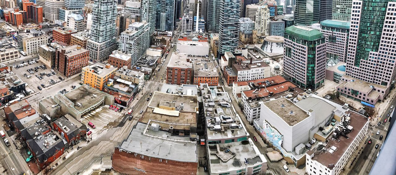 Flying High High Angle View City Aerial View Cityscape Architecture Street Panoramic Buildings Toronto Downtown District Travel Destinations Crowded Background Office Building Financial District  Skyscraper Cars Crossroads Wide Angle Window