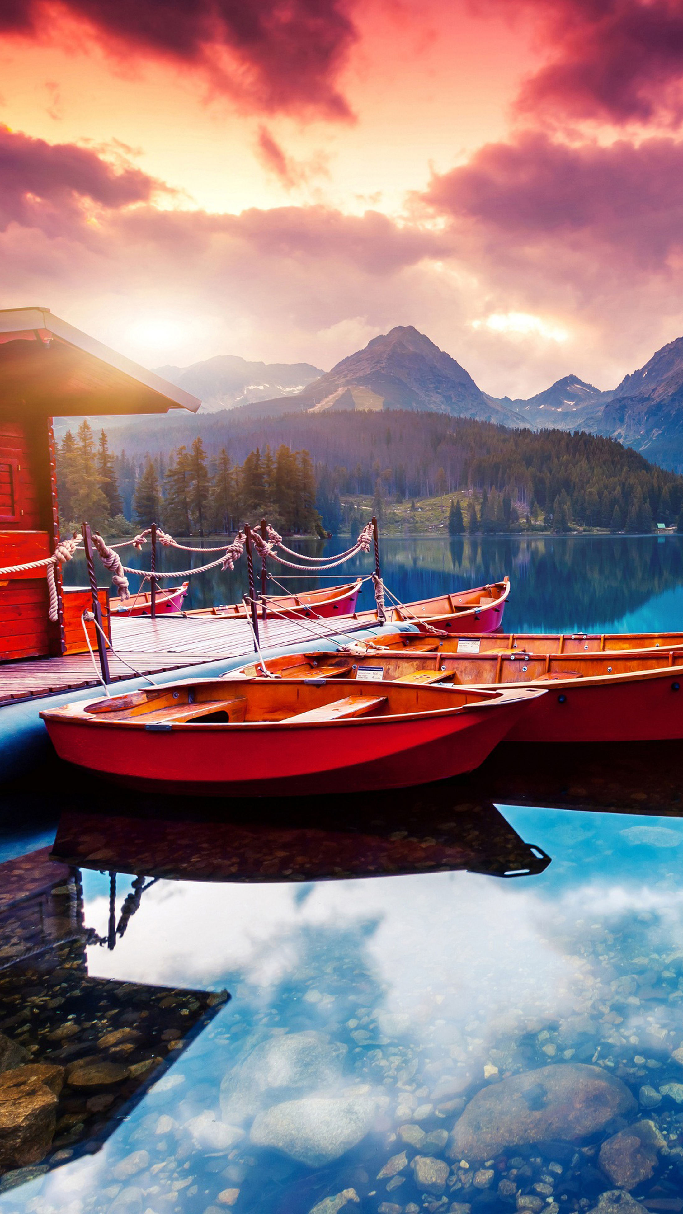 nautical vessel, mode of transport, boat, transportation, water, moored, mountain, sunset, lake, reflection, mountain range, tranquility, tranquil scene, sky, scenics, cloud - sky, cloud, calm, waterfront, nature, standing water, beauty in nature, non-urban scene, dock, sea, harbor, no people