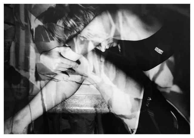 "Obsessions 3. From my series of 12 photos, entitled ""Addictions, Obsessions, Compulsions"". Shot on Kodak TMax 100 on my Canon EOS Rebel K2. Conceptual Photography  Conceptual Image Sandwiched Negatives Double Exposure Conceptual Self Portrait Film Photography Obsessions Dying To Be Thin Anorexia Story Photography Contrast Blackandwhitephotography B&W_collection Cindy Sherman Inspired By Cindy Sherman"