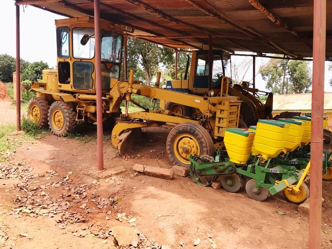 Paint The Town Yellow Agricultural Machinery Land Vehicle Rural Scene Wheel Loader Grader Komatsu No People Outdoors Agriculture Day