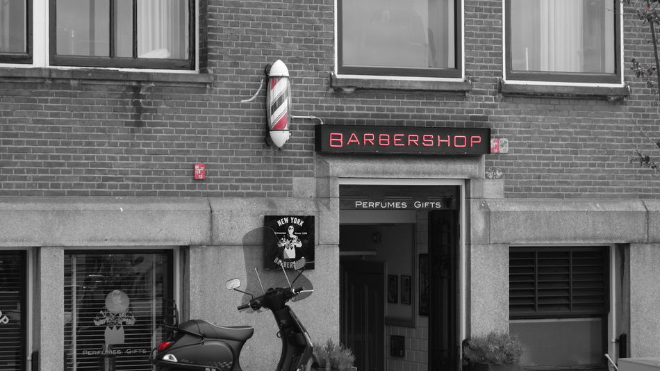 Architecture Barber Barbershop Built Structure City Design Entree Gray Haircut Haircut Time Hotel New York  Old Shop Old-fashioned Oldfashioned Photography Red Scooter Shop Shop Around The Corner Taking Photos