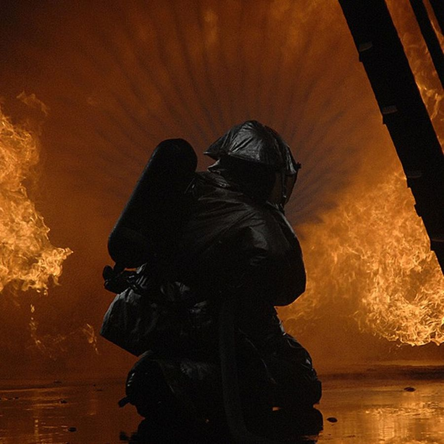 FavoritePhotos Firefighters practice fire Suppression tactics in a live Fire training building. @firefighter_brotherhood airforce usaf military photos photography unitedstates us usa america photoftheday heat smoke firefighting