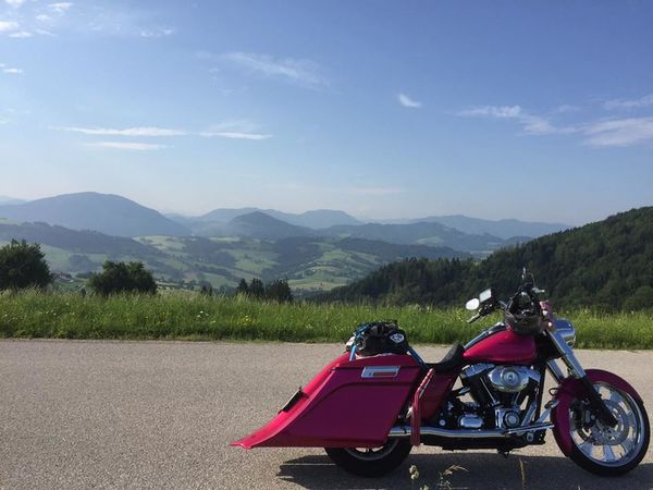 Austria ❤ Adventure Baggerstyle Beauty In Nature Day Extreme Sports Harleydavidson Land Vehicle Landscape Motorcycle Mountain Mountain Range Nature No People Outdoors Road Scenics Sky Transportation Tree