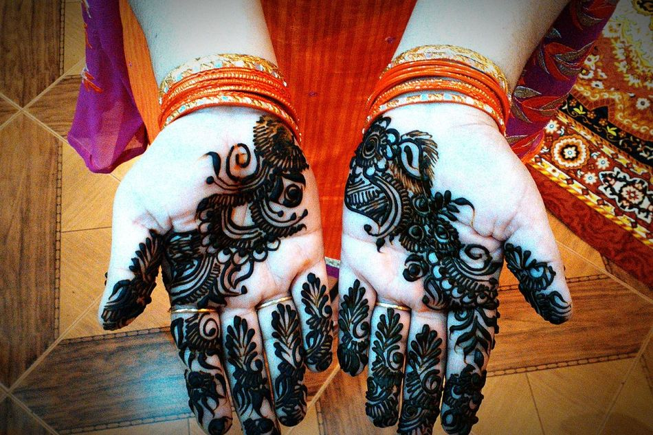 Mehendi - Traditional Indian hand art that women apply during weddings, festivals or any other hapy occasion. Real People Human Body Part Women Lifestyles Weddings Mehendi Art Indian Culture