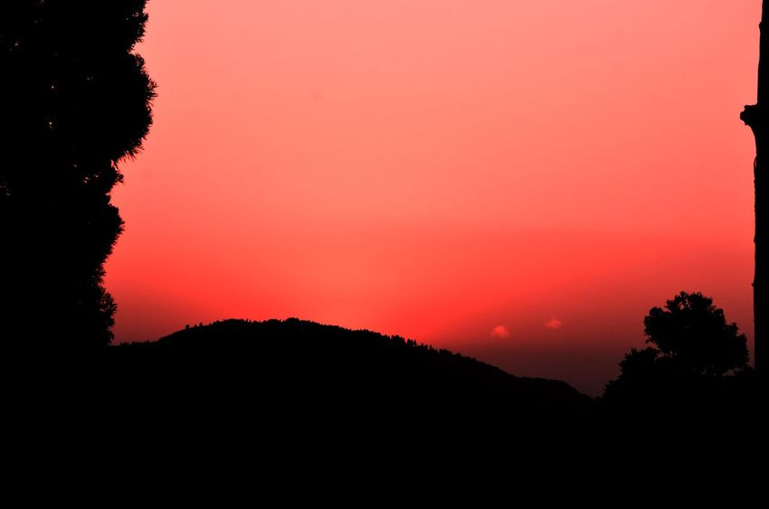 Backgrounds Beauty In Nature Copy Space Nature No People Outdoors Red Silhouette Sunset