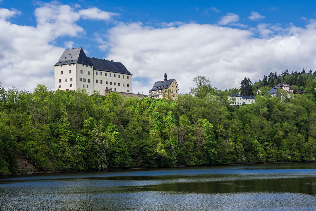 A castle in Burgk, Germany. Architecture Building Exterior Built Structure Burgk Castle City Cloud - Sky Day Lake Landmark Nature No People Outdoors Sky Thuringia Tree Water