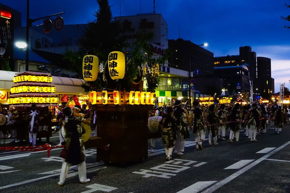 Japanese Festival Gion Festival Night Evening Summer Outdoors Wadaiko Drums On The Way On The Road