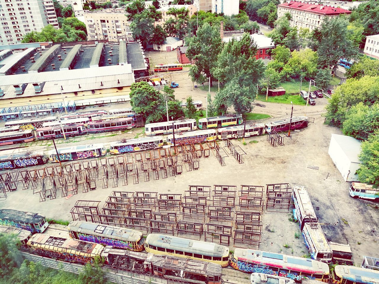 High Angle View Day Outdoors Architecture City Summer Industrial Industry building exterior Trams Transportation Tram Depo Retro EyeEm Renovation Maintenance Work Rail Transportation Railroad Track Railway трамвайное депо