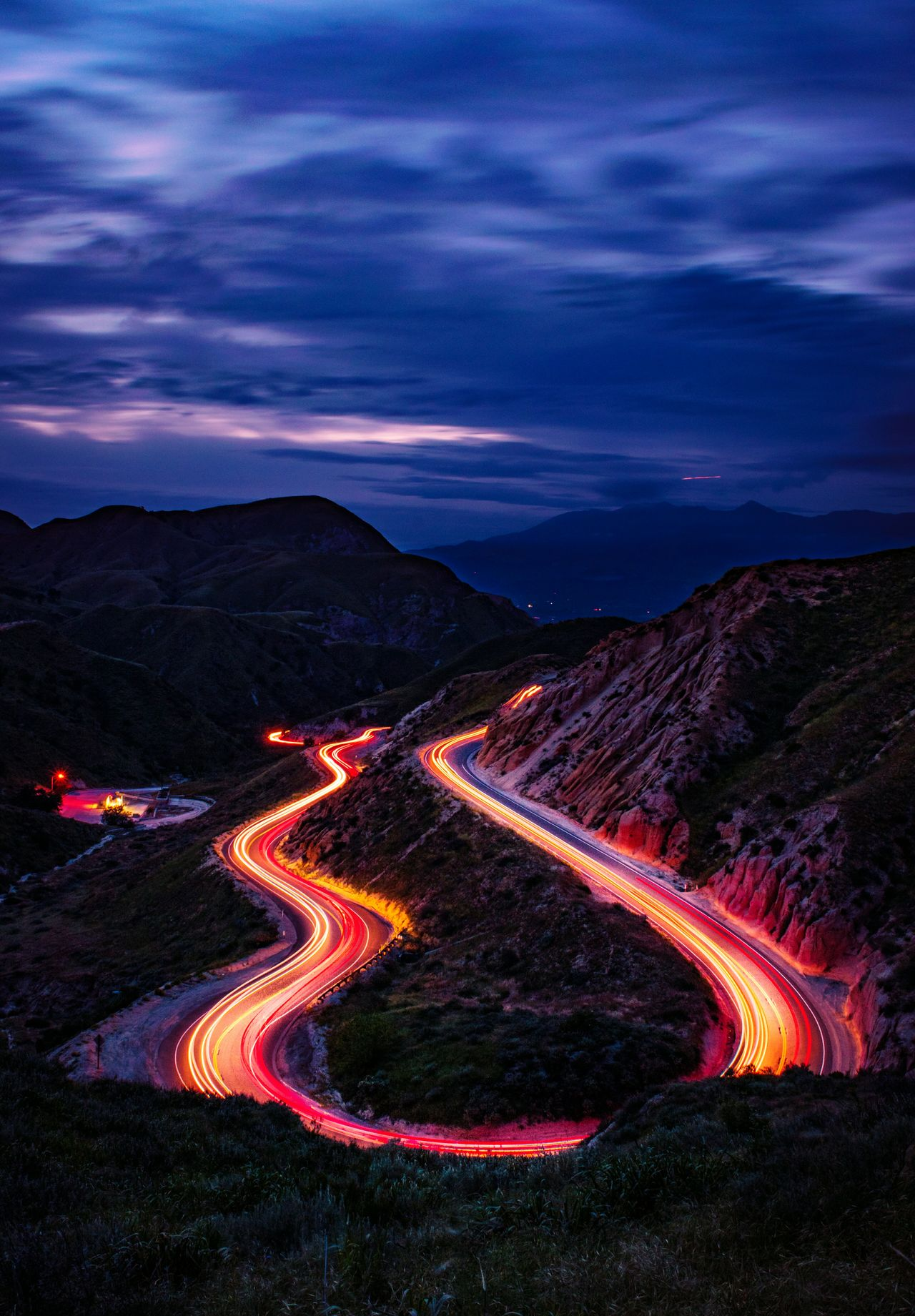 Night Long Exposure Illuminated Light Trail Motion Winding Road Mountain Traffic Speed Cloud - Sky Dramatic Sky Outdoors Road Sky California Coast California Love California Scenics EyeEm Best Shots From My Point Of View Landscape_photography Landscape_Collection Sunsetporn Sunset_captures Landscape