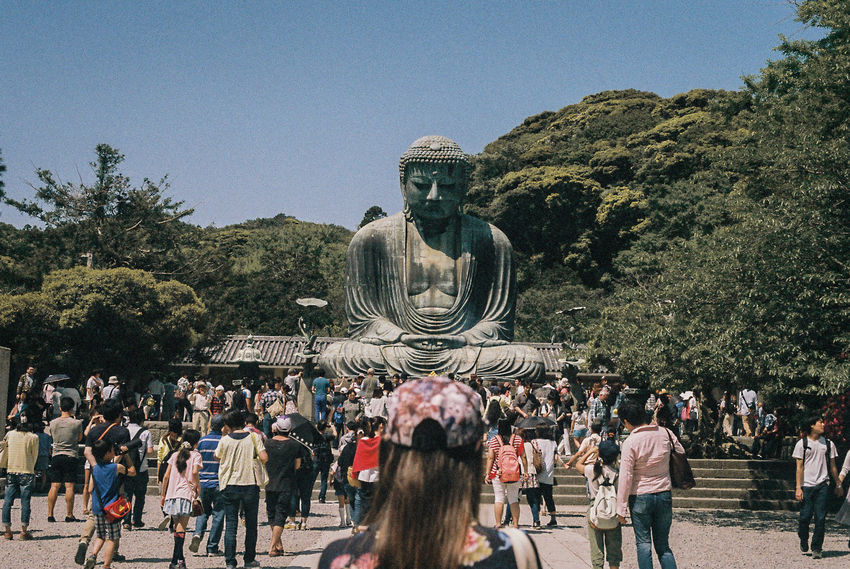35mm Film 35mmfilmphotography ASIA Buddha Film Japan Kodak Lost In The Landscape Nikon Tokyo Tourist Travel Crowd Day Large Group Of People Lifestyles Nature Outdoors Real People Sculpture Sky Statue
