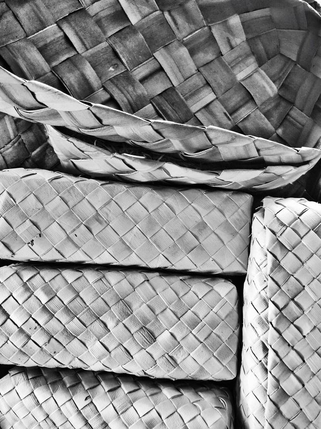Lauhala Woven Basket Tropical Pacific Handmade Craft Traditional Polynesian