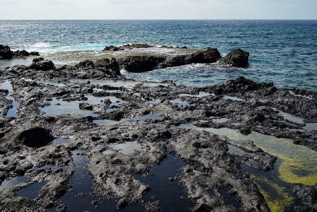 Sea Horizon Over Water Water Tranquil Scene Scenics Shore Tranquility Beach Rock - Object Beauty In Nature Nature Idyllic Travel Destinations Calm Sky Tourism Non-urban Scene Outdoors Rocky Seascape Gran Canaria Agaete Las Salinas