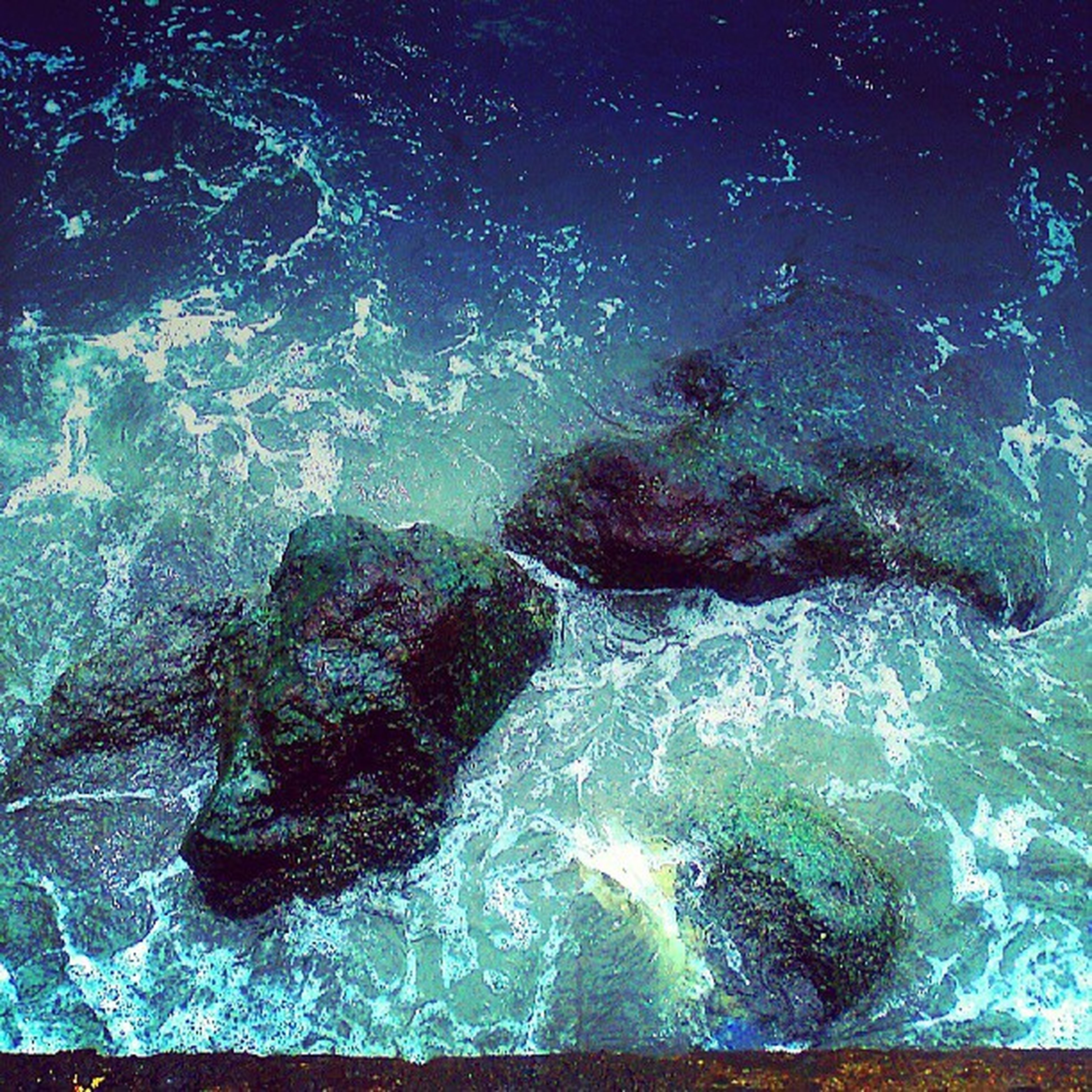 water, sea, beauty in nature, motion, nature, scenics, rock - object, blue, power in nature, rock formation, splashing, waterfront, night, no people, idyllic, underwater, surf, tranquility, tranquil scene, wave