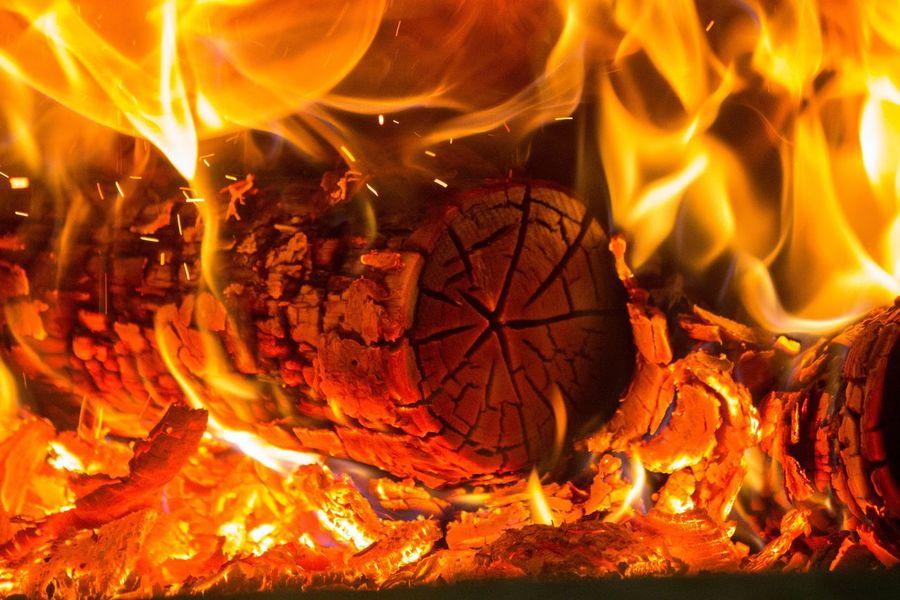 Burning Chimney Flame Flame Hearth Heat - Temperature Illuminated Nature Night Orange Color Trunk Winter Wood