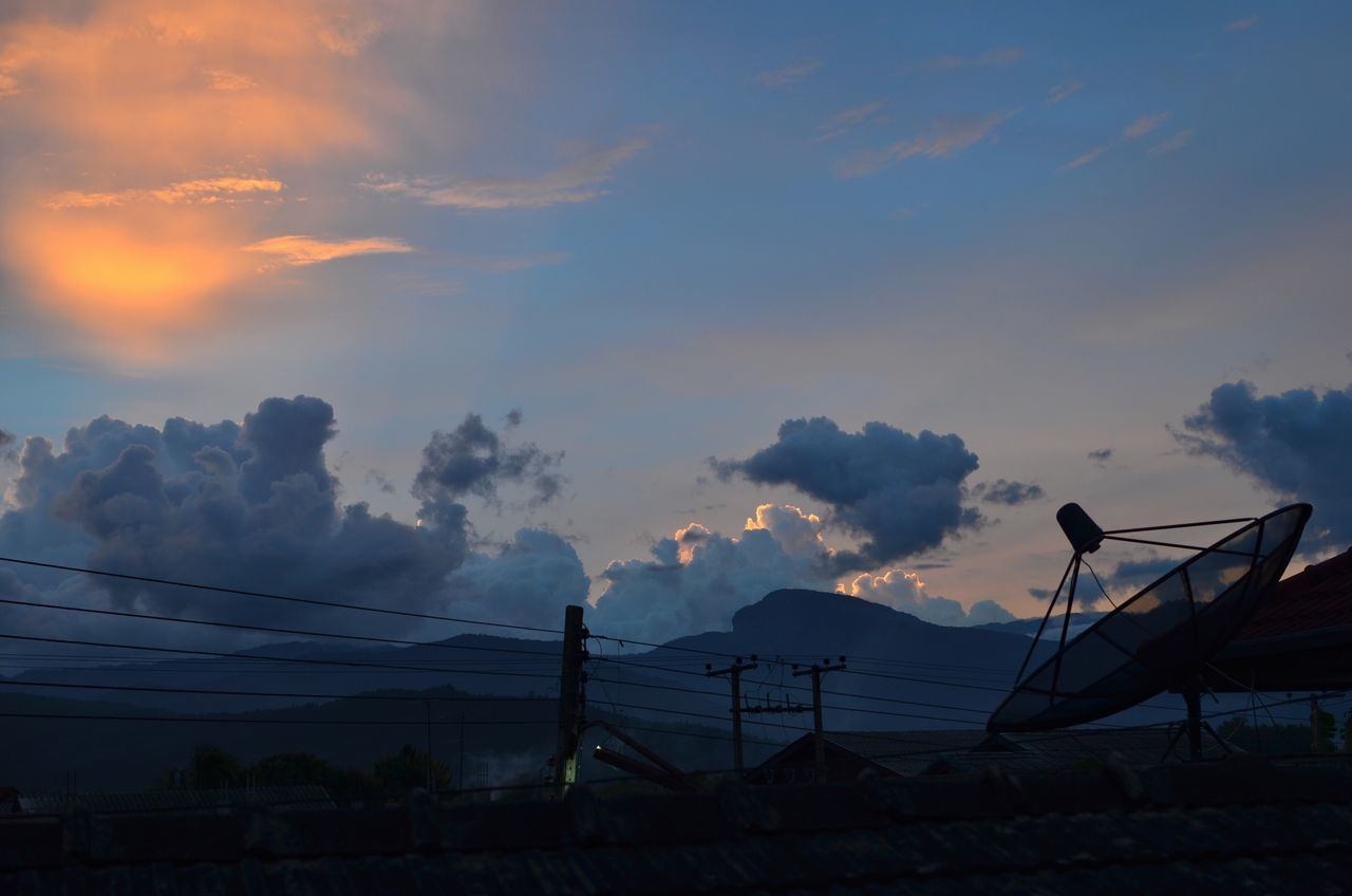 sunset, sky, cloud - sky, nature, beauty in nature, connection, silhouette, no people, scenics, outdoors, day