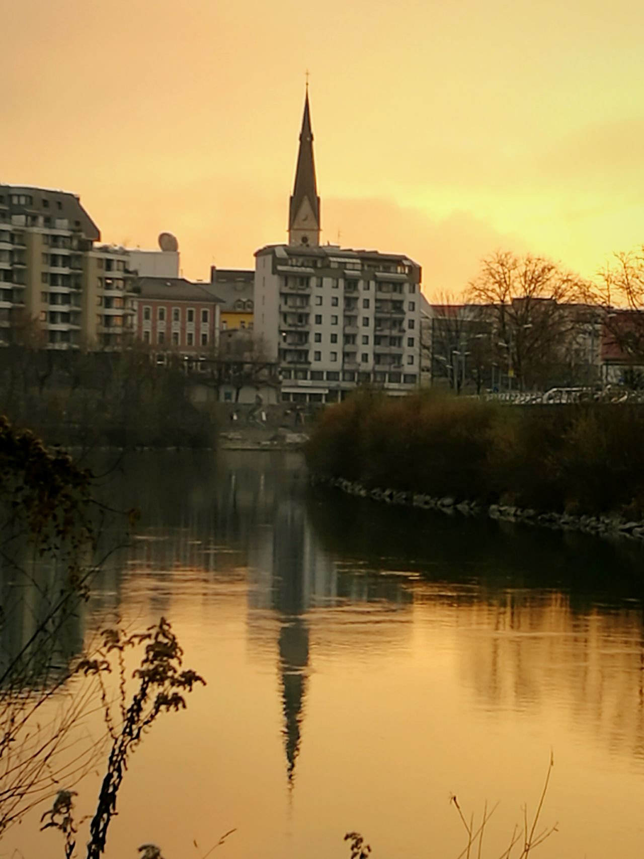City Reflection Sunset Built Structure Sky Travel Bridge - Man Made Structure Building Exterior Cityscape Water Villach Love Architecture Outdoors Tree Sundaymorning River View Walking Around Cityscapes Tranquility Reflection