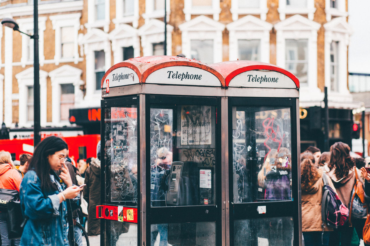 City Day Mobile Phone Pay Phone Red Phone Booth Red Phone Boxes Telephone Booth Telephone Cabin The Photojournalist - 2017 EyeEm Awards The Street Photographer - 2017 EyeEm Awards Young Adult