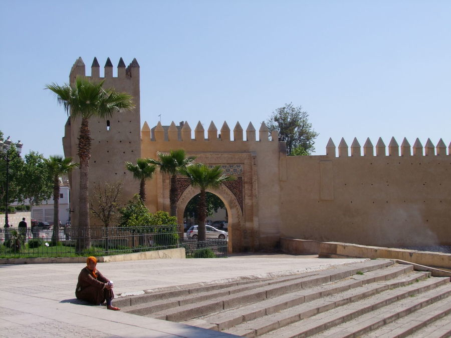 City Walls Architecture Architecture Blue Sky Built Structure City City Life City Walls Composition Entrance Gate Famous Place Fes Fort Gateway Incidental Person Moroccan Woman Morocco One Person Outdoor Photography Palm Trees Steps Sunlight And Shadow Tourist Attraction  Tourist Destination Trees