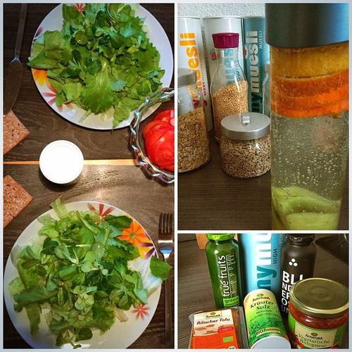 Salad Salat Mymuesli Fitforfun Truefruits Green BlackEdition LimitedNo6 Blindverkostung Tofu Tomato Kiwi Orange Zitrone Wasser Water ALNATURA Salz Salt
