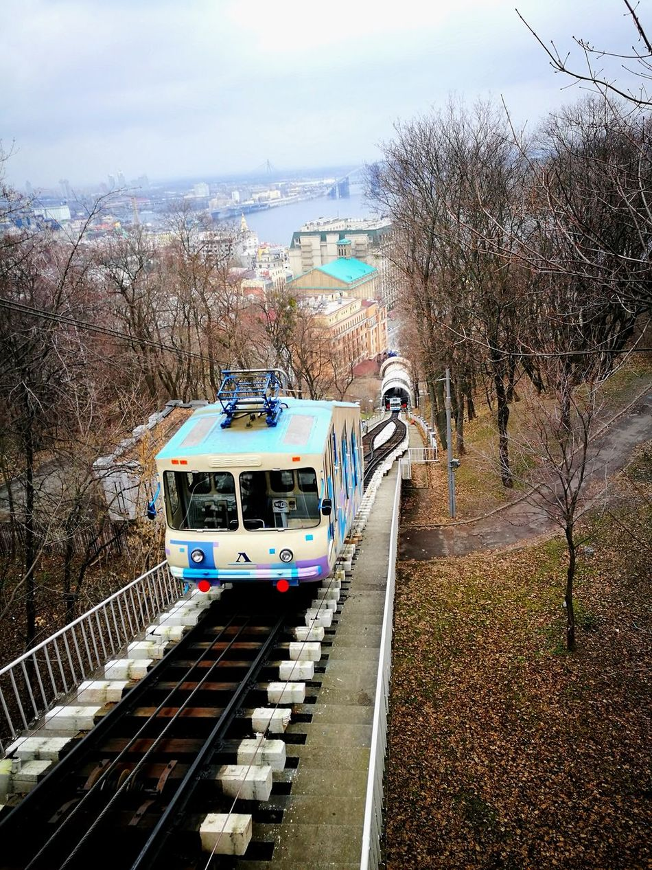 Architecture Bare Tree Built Structure Cable Car City City Life Cityscape Day Funicular Huawei P9 Leica HuaweiP9 Huaweiphotography Kiev Kyiv Land Vehicle Mode Of Transport Oo Public Transportation Rail Transportation Railroad Track Sky Train - Vehicle Transportation Tree Ukraine