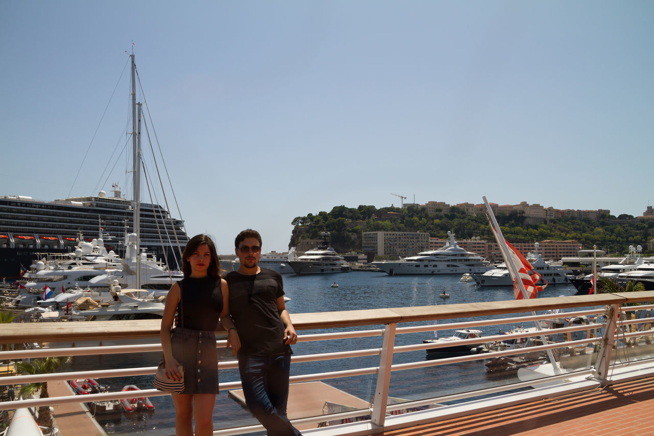 Cute couple in Monte Carlo / Monaco Beautiful Boat Boyfriend Casual Clothing Clear Sky Couple Cruise Girlfriend Handsome Lifestyles Mode Of Transport Moored Nautical Vessel Outdoors Port Sailboat Sea Ship Togetherness Tourism Transportation Travel Vacations Water Yatch