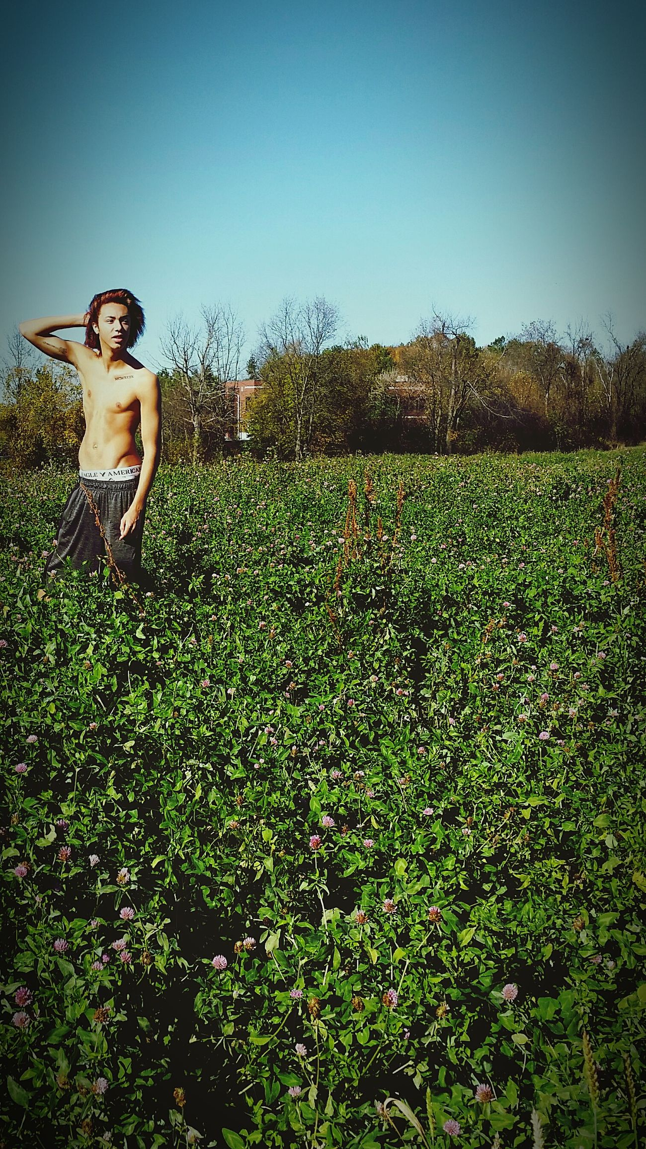 Meadow Flowers Malemodel  Sexyboy Shirtlessyoungmanposing! Shirtless Americaneagle Underwear Textures And Surfaces Longhair Blue Sky Nicebody Happy People Fun Nature Sunny Day