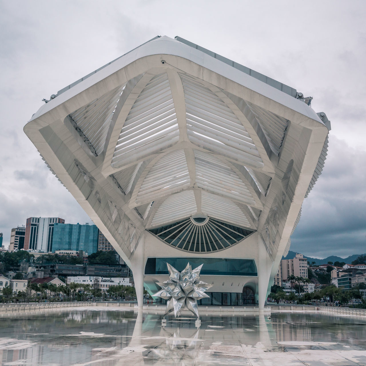 The beautiful Museu do Amanhã. Architecture Building Exterior Built Structure City Cloud - Sky Cloudy Day Lines Lines And Shapes Lines, Shapes And Curves Modern Modern Architecture Moody Moody Sky Nature No People Outdoors Reflection Sculpture Sea Sky Star The Architect - 2017 EyeEm Awards Water Water Reflections