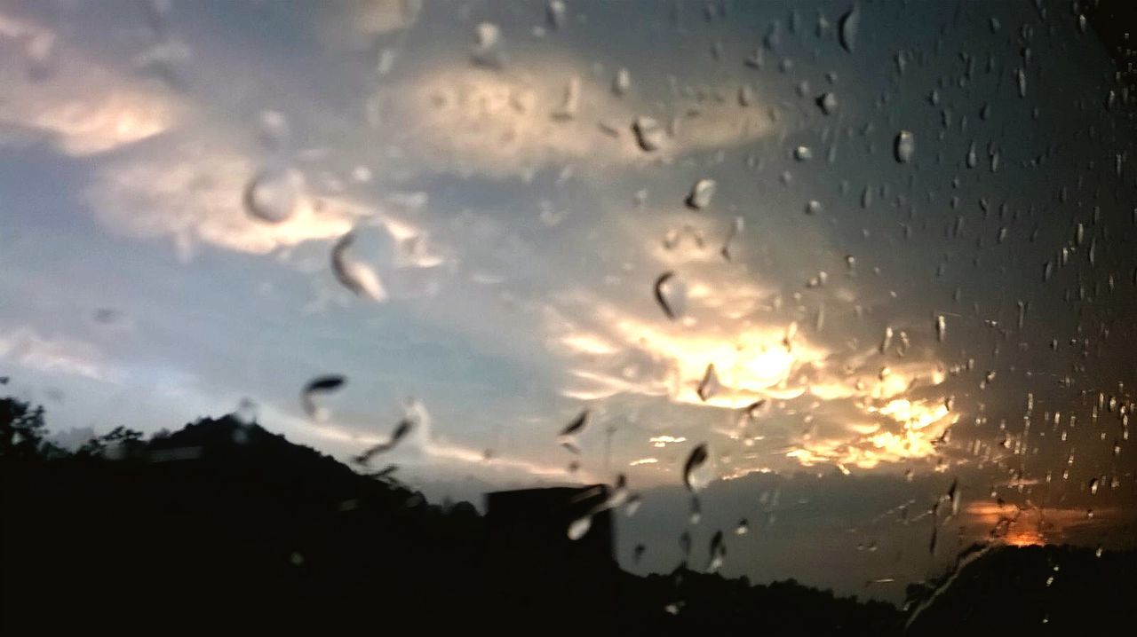 drop, wet, window, sky, weather, no people, cloud - sky, raindrop, nature, water, close-up, sunset, indoors, beauty in nature, day