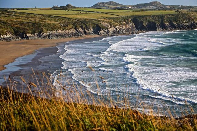 Beauty In Nature Coastline Grass Nature Pembrokeshire Pembrokeshire Coast Scenics Sea Seascape Shore Tranquil Scene Tranquility Wales Wales UK Wales You Beauty Wales❤ Water Waves, Ocean, Nature
