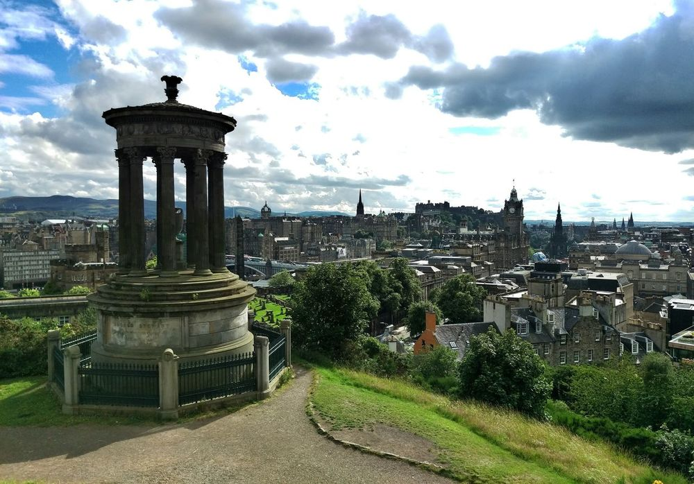 Travel Cityscape City Edinburgh Monument View Calton Hill Dugald Stewart Monument