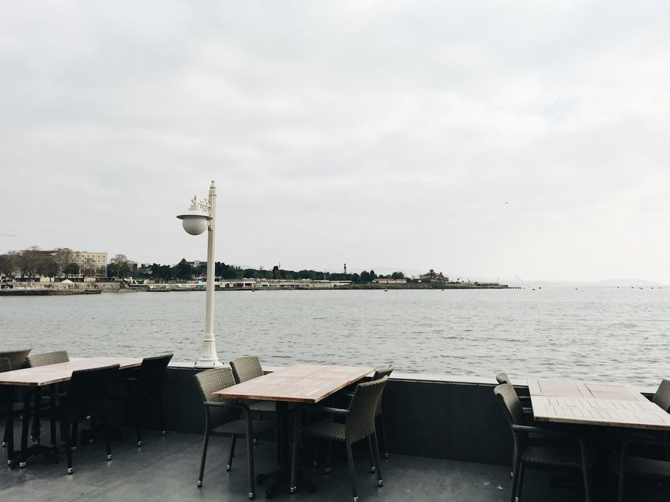 A terrace of an empty restaurant in winter in Istanbul, Turkey with the view at Marmara Sea Beautiful Beauty In Nature Empty Restaurant Horizon Over Water Istanbul Marmara Sea Nature No People Sea Terrace Travel Travel Destinations Turkey Winter
