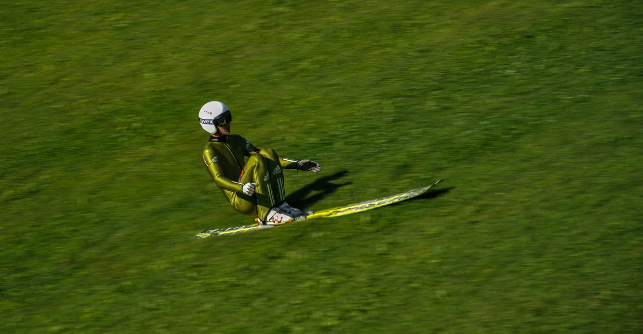 Action Action Shot  Arrival Bergisel Bergiselweg Blur Exercise Fast Glide Green Color Innsbruck Jumper Motion Motion Blur Nature Schanze Ski Ski Jumping Speed Summer TakeOff