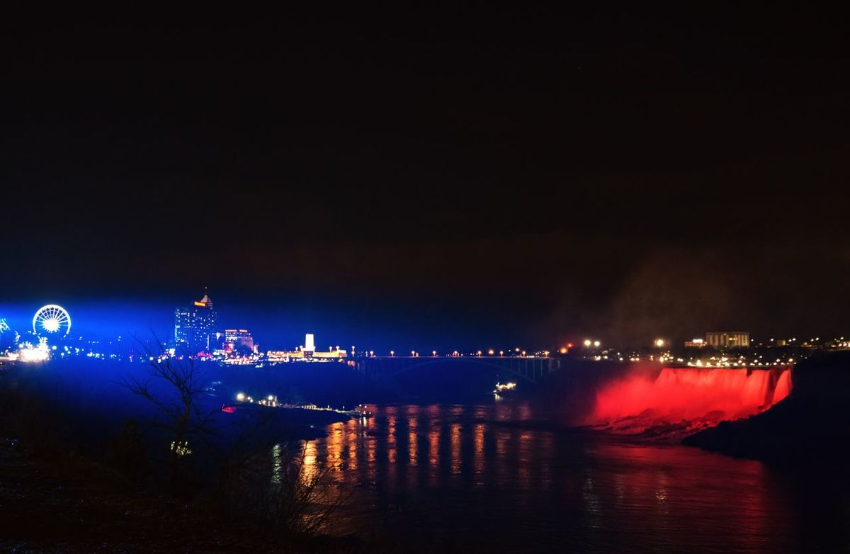Festival Of Lights Lights In The City NiagaraFallsCanada Reflection Night Water Nature Colours And Light Falls Beauty Of Light Outdoors